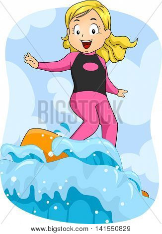 Illustration of a Little Girl Surfing the Waves