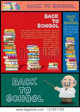 Set of cartoon banners for school education bookstore library and knowledge in general.