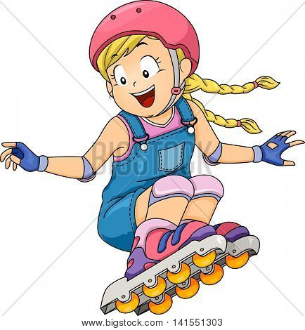 Illustration of a Little Girl Doing a Roller Blade Stunt