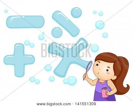 Illustration of a Little Girl Blowing Bubbles Shaped Like Math Symbols