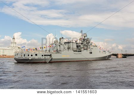 St. Petersburg, Russia - 31 July, Warship participating in the parade, 31 July, 2016. Festive parade of warships on the Neva River in St. Petersburg.