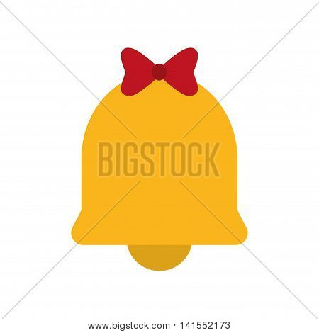 bell bowtie merry christmas celebration icon. Isolated and flat illustration. Vector graphic