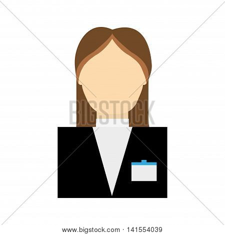 receptionist female suit hotel service icon. Isolated and flat illustration. Vector graphic