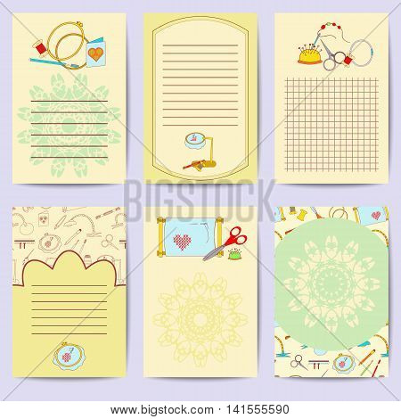 Set printable journaling cards. Bright collection with embroidery tools. Stock vector illustrations of objects for embroider, handicraft, hand made. It can be used for planning, poster, scrapbooking