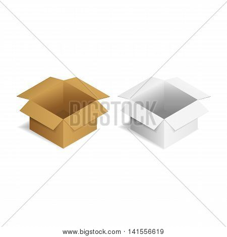 vector illustration. Open the cardboard packing boxes.