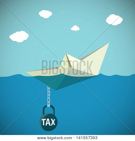 Paper Boat sinks in water. Kettlebell with the inscription tax. Stock Vector illustration.