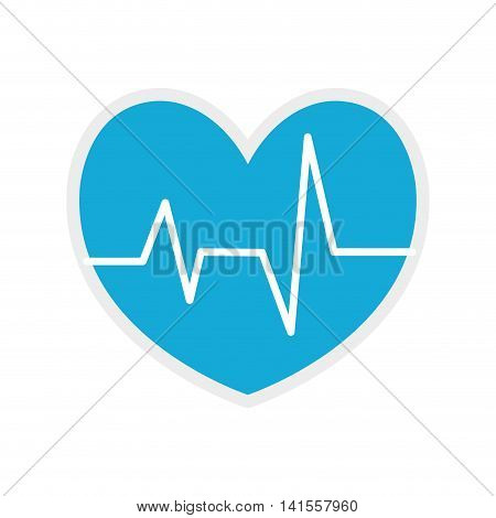 heart blue pulse cardio medical health care icon. Isolated and flat illustration. Vector graphic