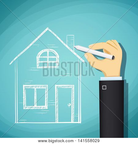 Human hand draws a sketch of the house. Design architecture. Stock Vector cartoon illustration.