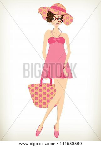 Beautiful romantic girl,cute girl illustration of fashionable girl design for children's book.