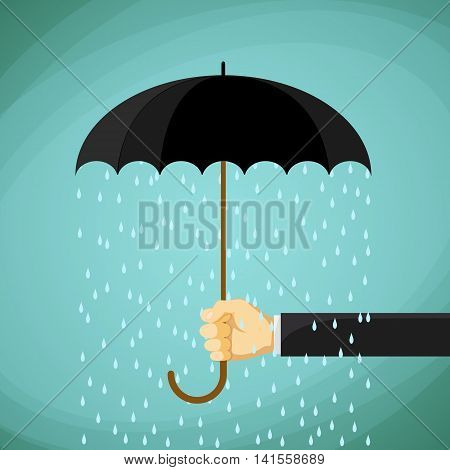 Man holds in his hand an umbrella. Stock Vector cartoon illustration.