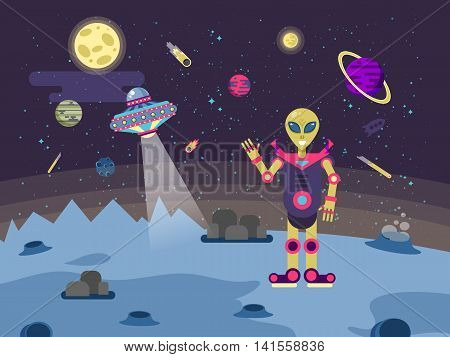 Stock vector illustrations alien on the moon surface on a background of outer space, flying saucer and the planets of the solar system in a flat style