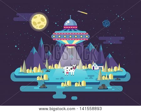 Stock vector illustration of a flying saucer UFO stealing a cow in a flat style