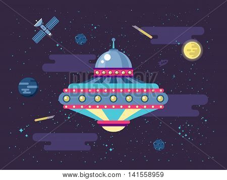 Stock vector illustration of a flying saucer UFO in outer space in a flat style