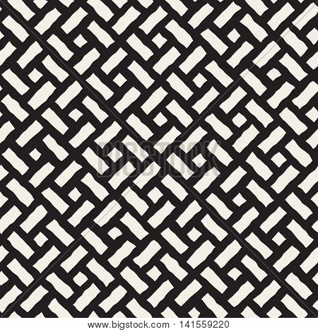 Vector Seamless Black And White Hand Drawn Diagonal Rectangles Pavement Pattern. Abstract Freehand Background Design