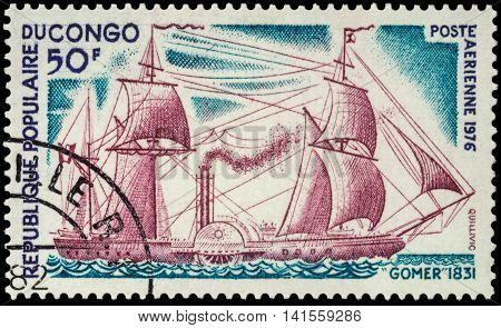 MOSCOW RUSSIA - AUGUST 05 2016: A stamp printed in Congo shows old sailing steamer Gomer (1831) series