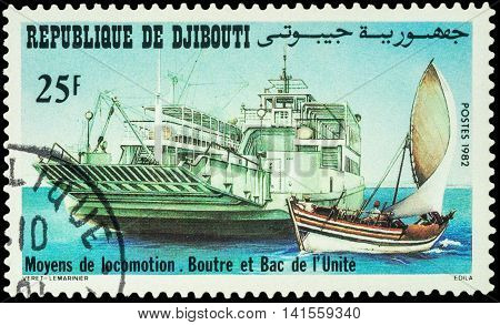 MOSCOW RUSSIA - AUGUST 05 2016: A stamp printed in Djibouti shows means of transport - big ferry and small sailing boat series