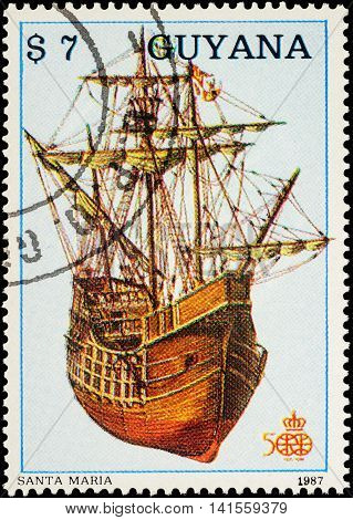 MOSCOW RUSSIA - AUGUST 04 2016: A stamp printed in Guyana shows antique sailing ship