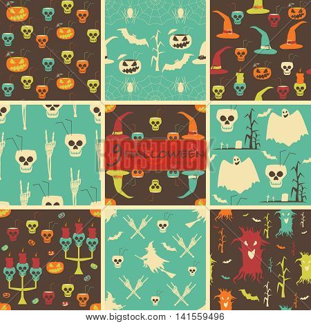 Set of seamless Halloween party patterns. Evil pumpkins, skulls with drinking straws and cocktail umbrellas, flying witches, demonic trees, candelabrums, candles, cemeteries, ghosts, bats, spiders