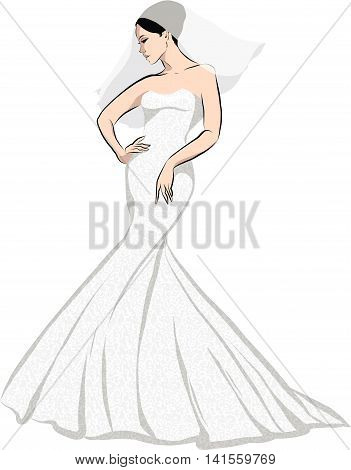 Beautiful Girl (bride) in a white wedding dress. Abstract design for advertising, fashion shop, flyer.