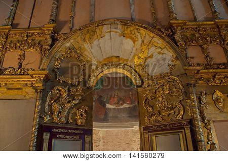 VELIKY NOVGOROD RUSSIA-JULY 15 2016. Architecture gilded details in the interior of St Nicholas Cathedral in Yaroslav Courtyard. Soft filter applied