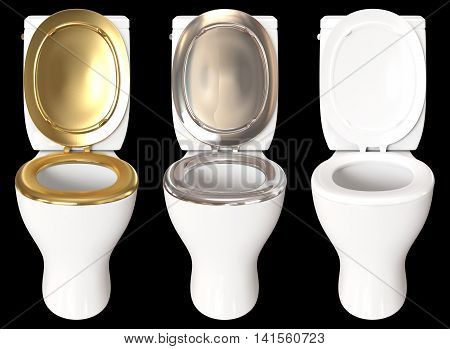3D rendering a set of a toilet bowl with colors gold chrome and white isolated on black background.