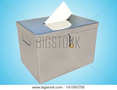 3D rendering metal ballot boxes and vote card on a blue gradient background with clipping paths.