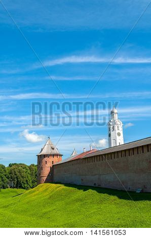 Architecture summer picturesque landscape - Veliky Novgorod Kremlin and belfry of St Sophia Cathedral on the hill in summer sunny day in Veliky Novgorod Russia