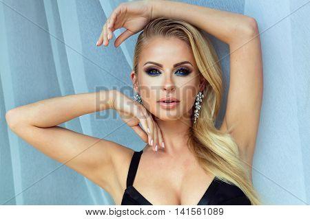 Sensual Blonde Lady Posing, Glamour Makeup.