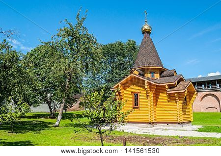 Chapel of St Vladimir - Prince of Novgorod and baptist of Rus in Kremlin in Veliky Novgorod Russia. Summer architecture landscape