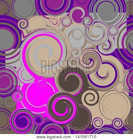 violet and brown twisted circles, seamless pattern