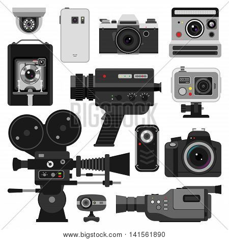 Set of different photo and video cameras. Different camera set photography isolated symbol photograph digital equipment. Retro technology camera set vintage element sign film collection.