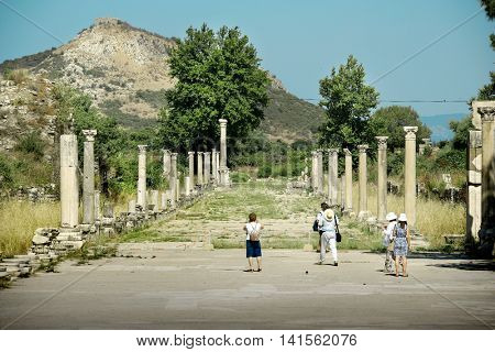 EPHESUS, Turkey - MAY 19, 2016: People walking around in archaeological city of Ephesus . Editorial image