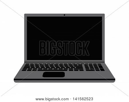 Modern laptop computer isolated on white background vector. Laptop keyboard isolated on white background technology communication vector. Flat laptop top view. Computer technology front view vector