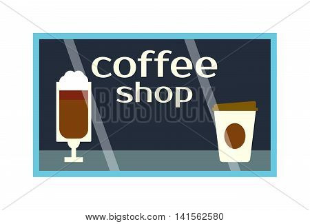 Coffee shop showcase front vector window. Exterior horizontal windows empty fresh store front product presentation. Refreshment breakfast drink detail coffee shop showcase business design.