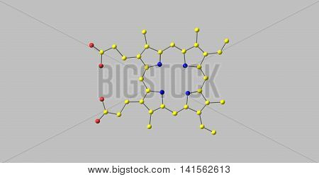 Porphyrins are a group of heterocyclic macrocycle organic compounds composed of four modified pyrrole subunits interconnected at their alpha carbon atoms via methine bridges. 3d illustration