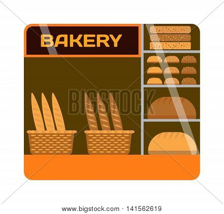 Bakery shop showcase interior bread market. Restaurant interior bakery shop showcase gourmet sale confectionery inside. Breakfast shelf bakery shop showcase business window vector fresh assortment.