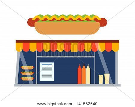 Stores and shop facade vector illustration. Traditional retro fast food shop showcase street building facade. City snack fast food shop showcase meal market window restaurant business.