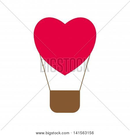 heart hot air balloon love romantic passion icon. Isolated and flat illustration. Vector graphic