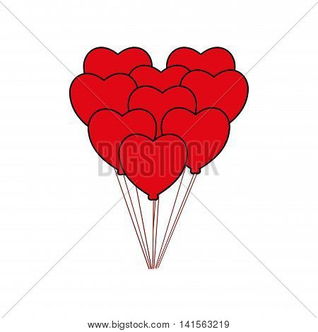 heart balloon love romantic passion icon. Isolated and flat illustration. Vector graphic