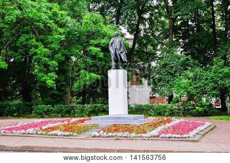 VELIKY NOVGOROD RUSSIA - AUGUST 9 2015. Monument to Vladimir Lenin in Veliky Novgorod. Vladimir Ilyich Ulyanov alias Lenin was a Russian communist revolutionary politician and political theorist.