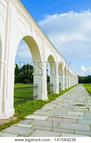 Architecture elements - remnants of Yaroslav's courtyard arcade in Veliky Novgorod Russia