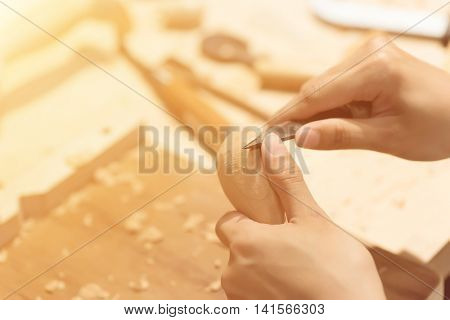 woman carpentry at home, wooden work concept