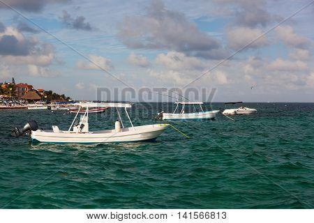 Fishing Motor Boats Moored At Caribbean Sea