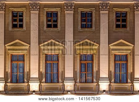 St. Petersburg Russia - June 07 2016: Several windows in a row on night illuminated facade of Mariinsky Palace front view