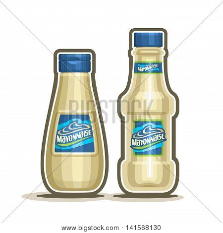 Vector logo Mayonnaise Bottles, plastic container with white pale mayo with blue cap, glass cartoon bottle with provencal sauce close-up on white background, jar mayonnaise french cuisine for salad.