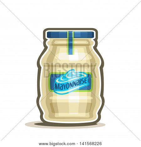Vector logo Big Jar Mayonnaise, conserved container with white pale mayo with blue cap and label, glass pot with provencal sauce close-up on white background, jar mayonnaise french cuisine for salad.