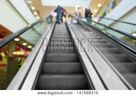 Modern escalator in the shopping mall