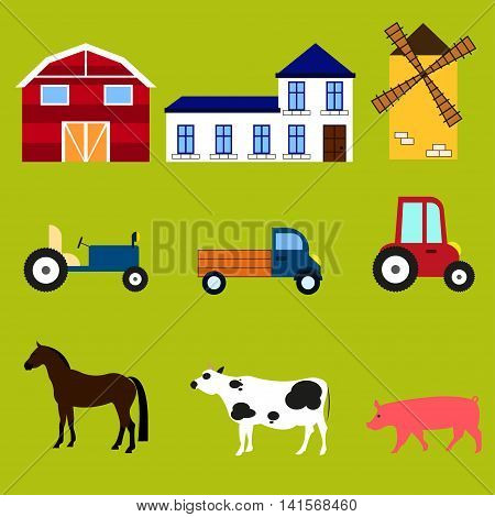 Farm equipment Equipment machinery buildings and animals on the farm: barn mill house tractor truck car horse cow pig