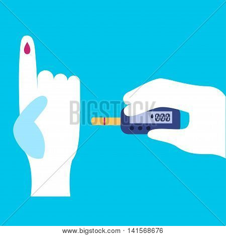 Diabetes Vector illustration The taking of blood to measure blood sugar levels Poster