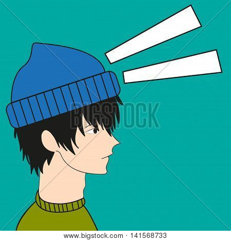 Anime boy Vector illustration Anime boy in the blue hat looks great in profile